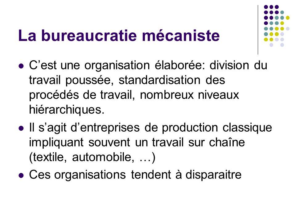 La bureaucratie mécaniste Cest une organisation élaborée: division du travail poussée, standardisation des procédés de travail, nombreux niveaux hiéra