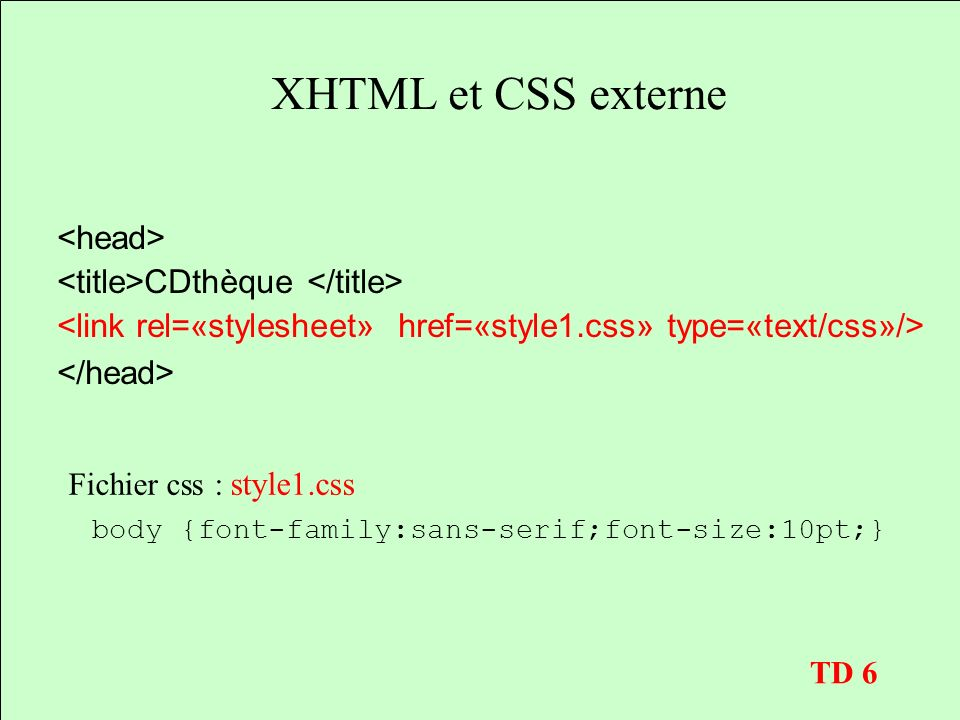 XHTML et CSS externe CDthèque Fichier css : style1.css body {font-family:sans-serif;font-size:10pt;} TD 6