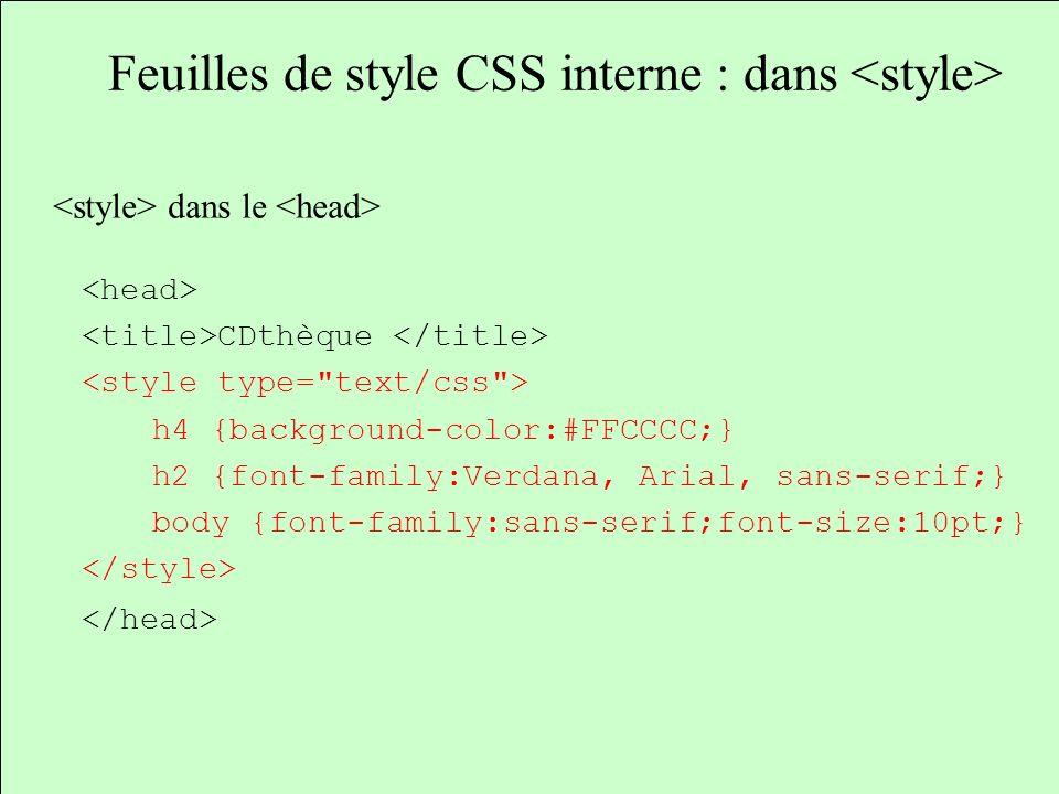 Feuilles de style CSS interne : dans dans le CDthèque h4 {background-color:#FFCCCC;} h2 {font-family:Verdana, Arial, sans-serif;} body {font-family:sa