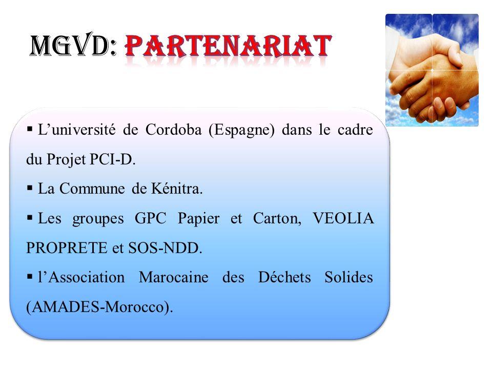 Luniversité de Cordoba (Espagne) dans le cadre du Projet PCI-D. La Commune de Kénitra. Les groupes GPC Papier et Carton, VEOLIA PROPRETE et SOS-NDD. l