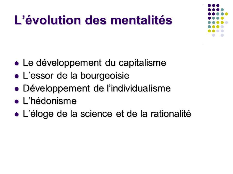 Lévolution des mentalités Le développement du capitalisme Le développement du capitalisme Lessor de la bourgeoisie Lessor de la bourgeoisie Développem