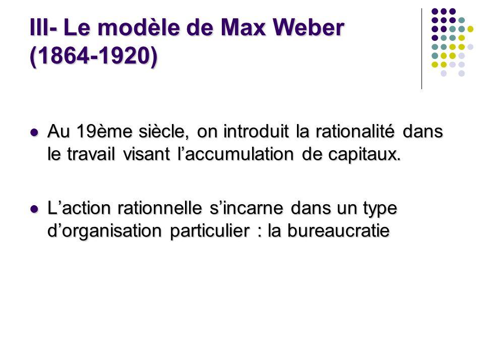 III- Le modèle de Max Weber (1864-1920) Au 19ème siècle, on introduit la rationalité dans le travail visant laccumulation de capitaux. Au 19ème siècle
