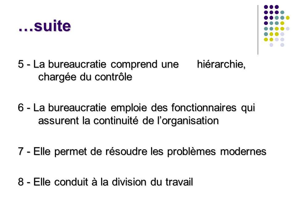 …suite 5 - La bureaucratie comprend une hiérarchie, chargée du contrôle 6 - La bureaucratie emploie des fonctionnaires qui assurent la continuité de l
