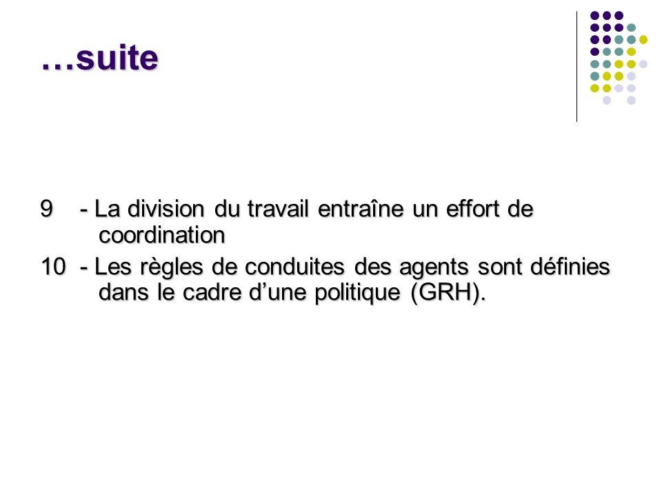 …suite 9 - La division du travail entraîne un effort de coordination 10 - Les règles de conduites des agents sont définies dans le cadre dune politiqu