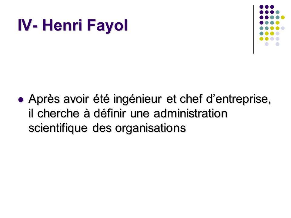 IV- Henri Fayol Après avoir été ingénieur et chef dentreprise, il cherche à définir une administration scientifique des organisations Après avoir été