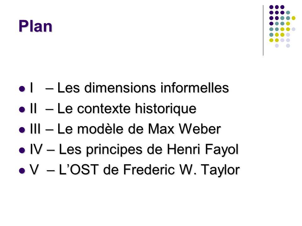 Plan I – Les dimensions informelles I – Les dimensions informelles II – Le contexte historique II – Le contexte historique III – Le modèle de Max Webe