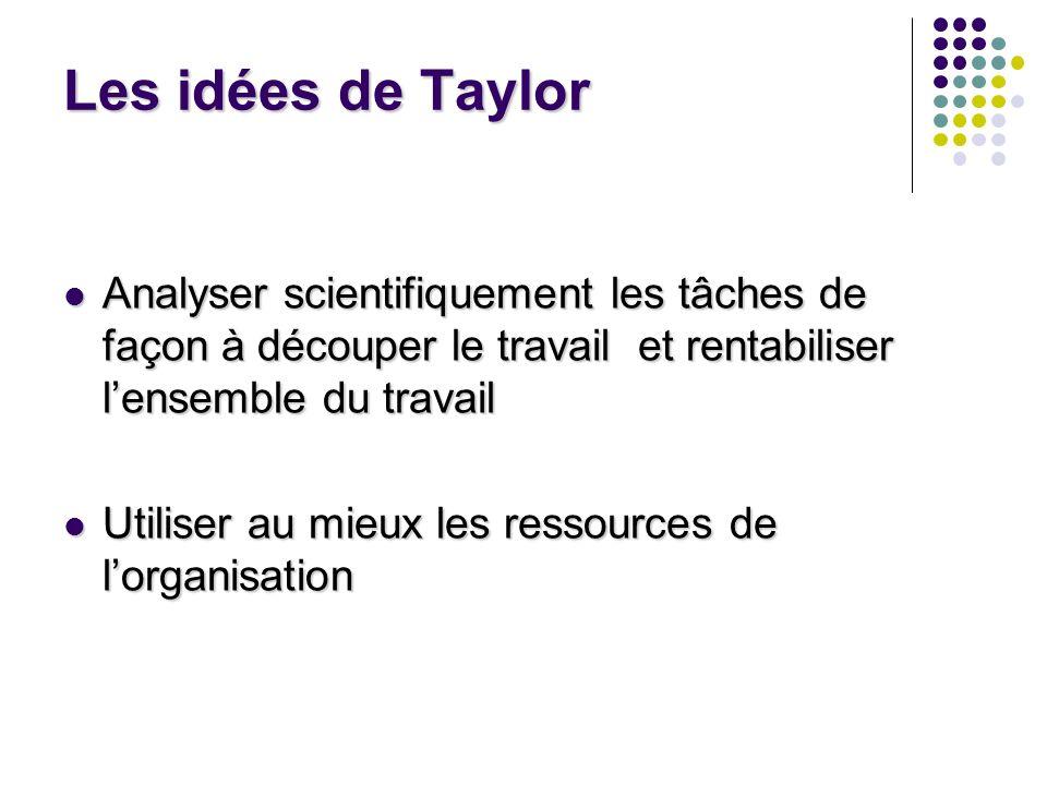 Les idées de Taylor Analyser scientifiquement les tâches de façon à découper le travail et rentabiliser lensemble du travail Analyser scientifiquement