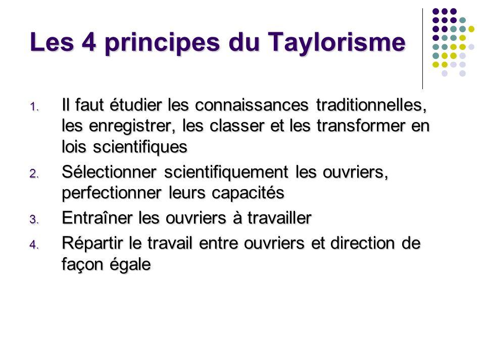 Les 4 principes du Taylorisme 1. Il faut étudier les connaissances traditionnelles, les enregistrer, les classer et les transformer en lois scientifiq
