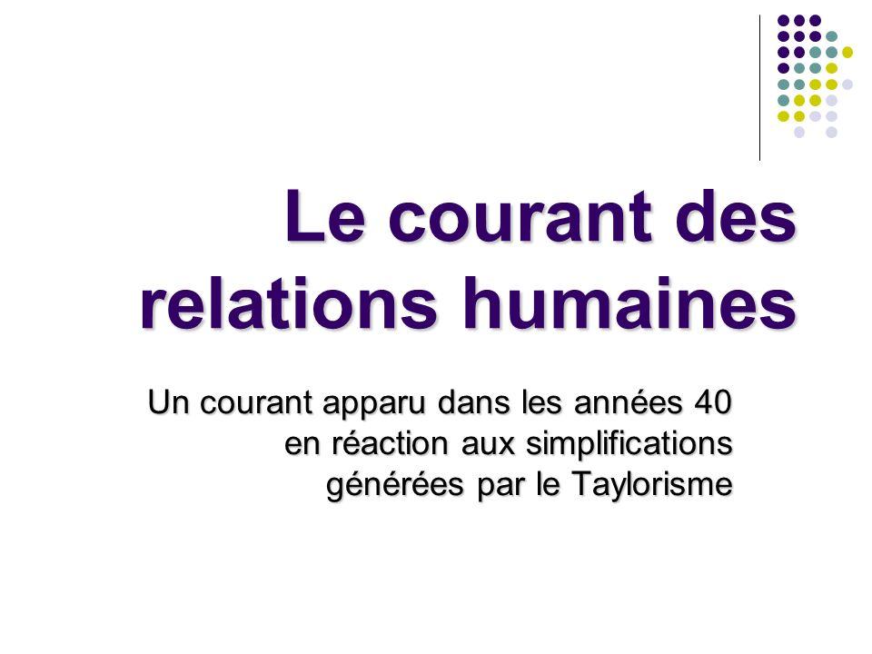 Le courant des relations humaines Un courant apparu dans les années 40 en réaction aux simplifications générées par le Taylorisme
