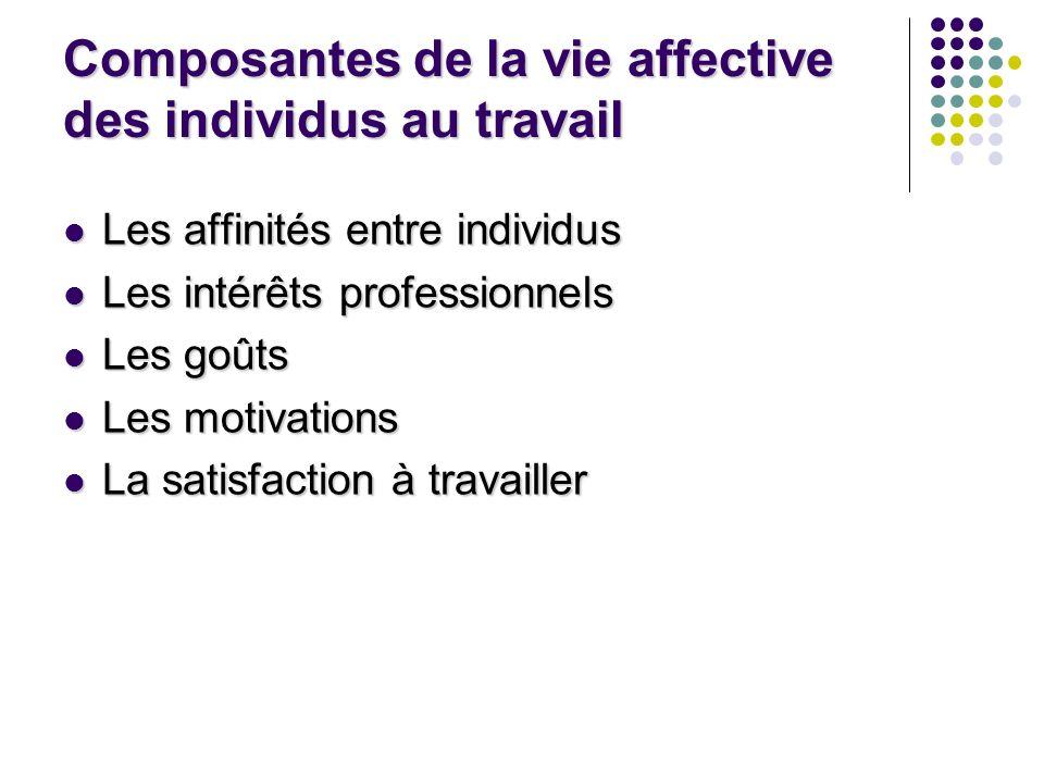 Composantes de la vie affective des individus au travail Les affinités entre individus Les affinités entre individus Les intérêts professionnels Les i