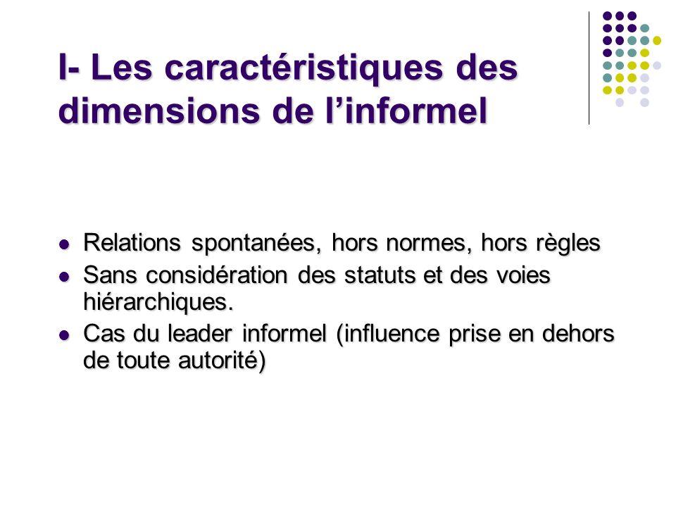 I- Les caractéristiques des dimensions de linformel Relations spontanées, hors normes, hors règles Relations spontanées, hors normes, hors règles Sans