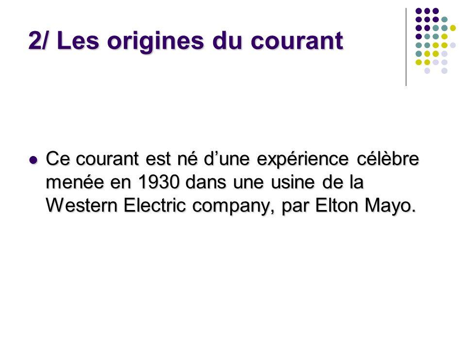 2/ Les origines du courant Ce courant est né dune expérience célèbre menée en 1930 dans une usine de la Western Electric company, par Elton Mayo. Ce c