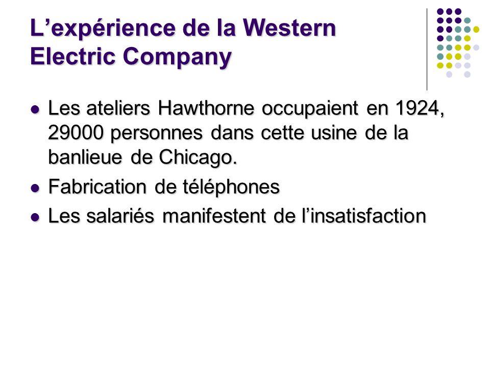 Lexpérience de la Western Electric Company Les ateliers Hawthorne occupaient en 1924, 29000 personnes dans cette usine de la banlieue de Chicago. Les