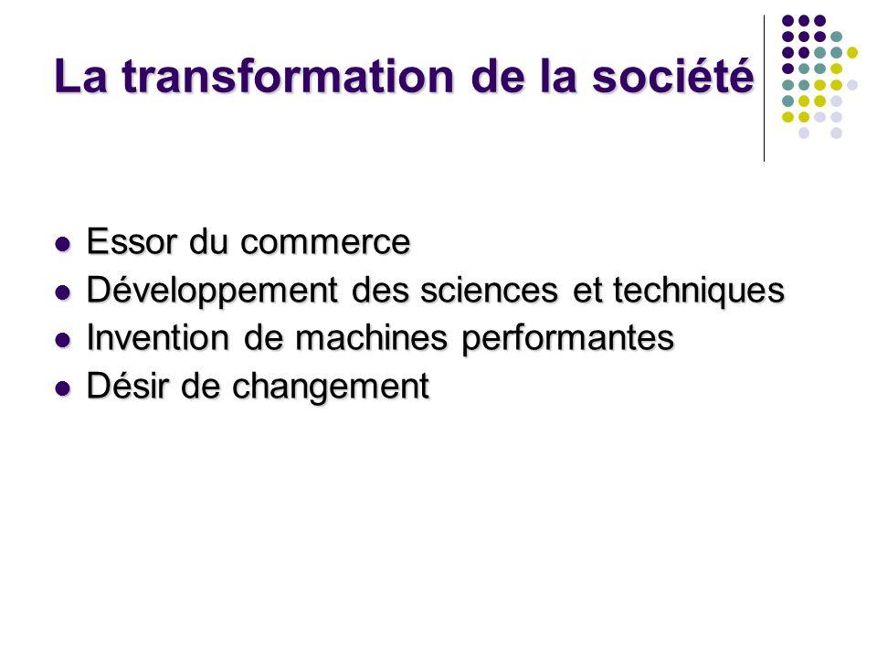 La transformation de la société Essor du commerce Essor du commerce Développement des sciences et techniques Développement des sciences et techniques