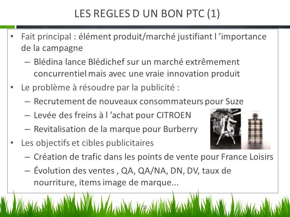 15 LES REGLES D UN BON PTC (1) Fait principal : élément produit/marché justifiant l importance de la campagne – Blédina lance Blédichef sur un marché