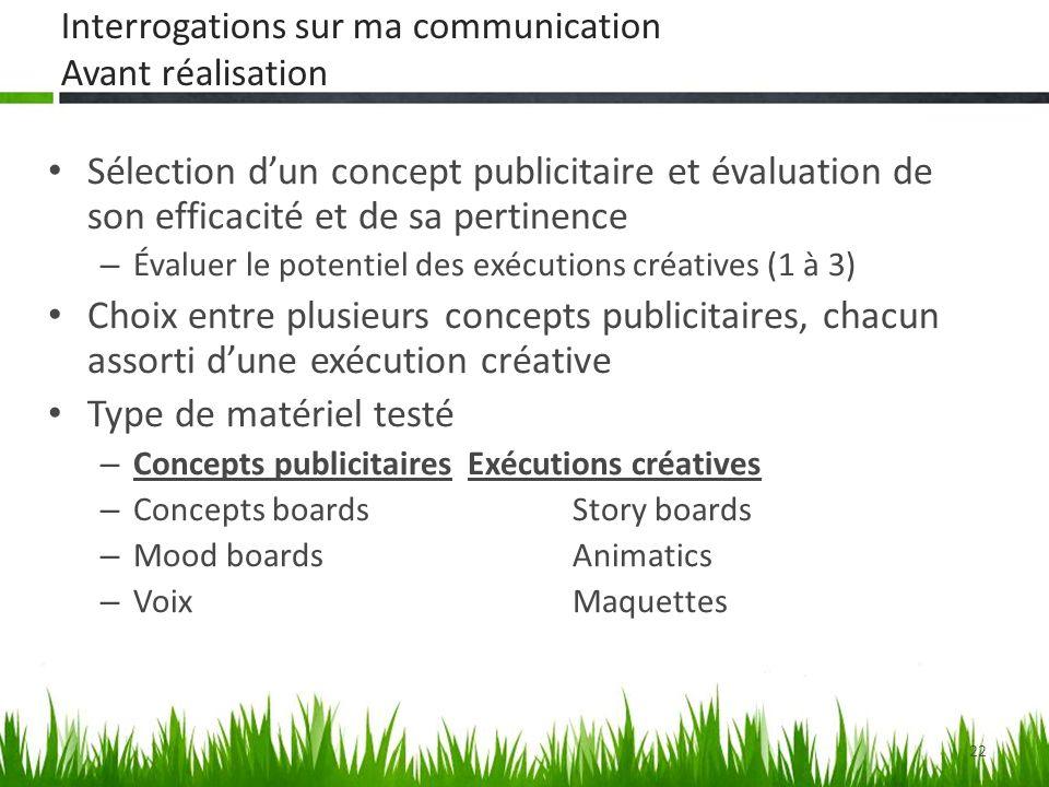 22 Sélection dun concept publicitaire et évaluation de son efficacité et de sa pertinence – Évaluer le potentiel des exécutions créatives (1 à 3) Choi