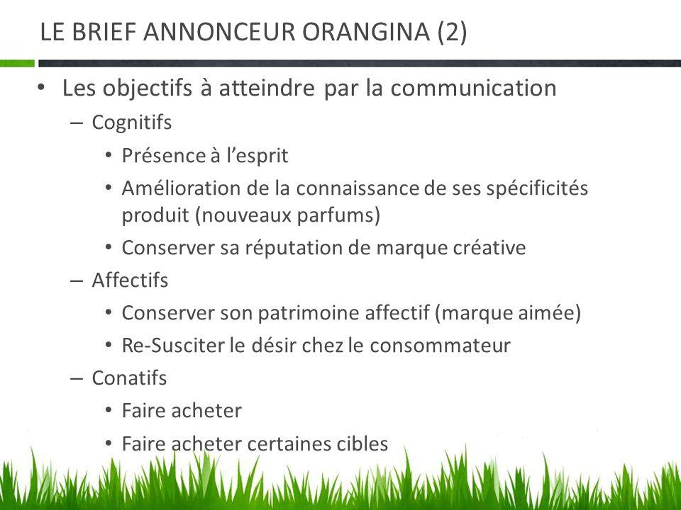 LE BRIEF ANNONCEUR ORANGINA (2) Les objectifs à atteindre par la communication – Cognitifs Présence à lesprit Amélioration de la connaissance de ses s