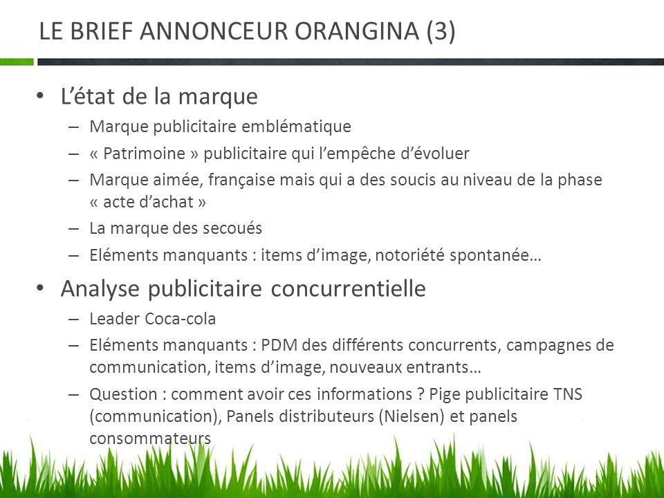 LE BRIEF ANNONCEUR ORANGINA (3) Létat de la marque – Marque publicitaire emblématique – « Patrimoine » publicitaire qui lempêche dévoluer – Marque aim