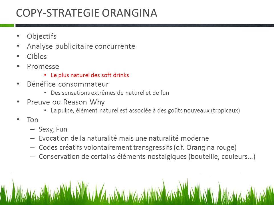 COPY-STRATEGIE ORANGINA Objectifs Analyse publicitaire concurrente Cibles Promesse Le plus naturel des soft drinks Bénéfice consommateur Des sensation