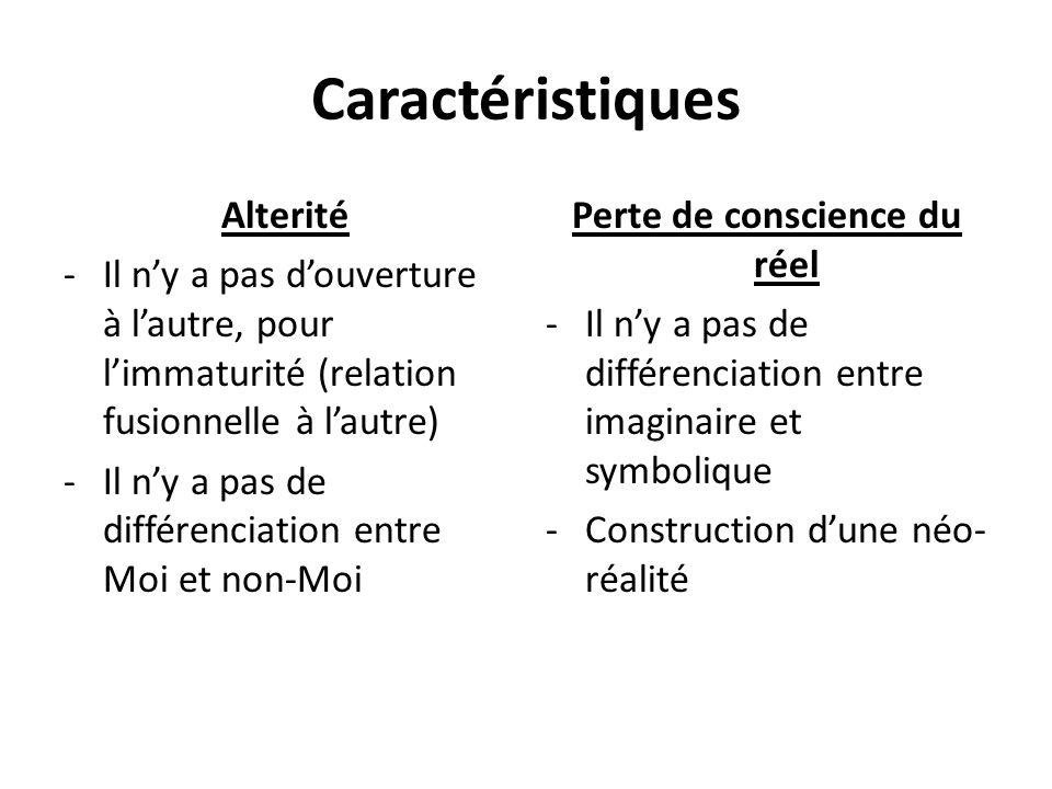 Caractéristiques Alterité -Il ny a pas douverture à lautre, pour limmaturité (relation fusionnelle à lautre) -Il ny a pas de différenciation entre Moi