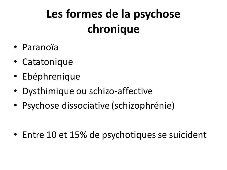 Les formes de la psychose chronique Paranoïa Catatonique Ebéphrenique Dysthimique ou schizo-affective Psychose dissociative (schizophrénie) Entre 10 e