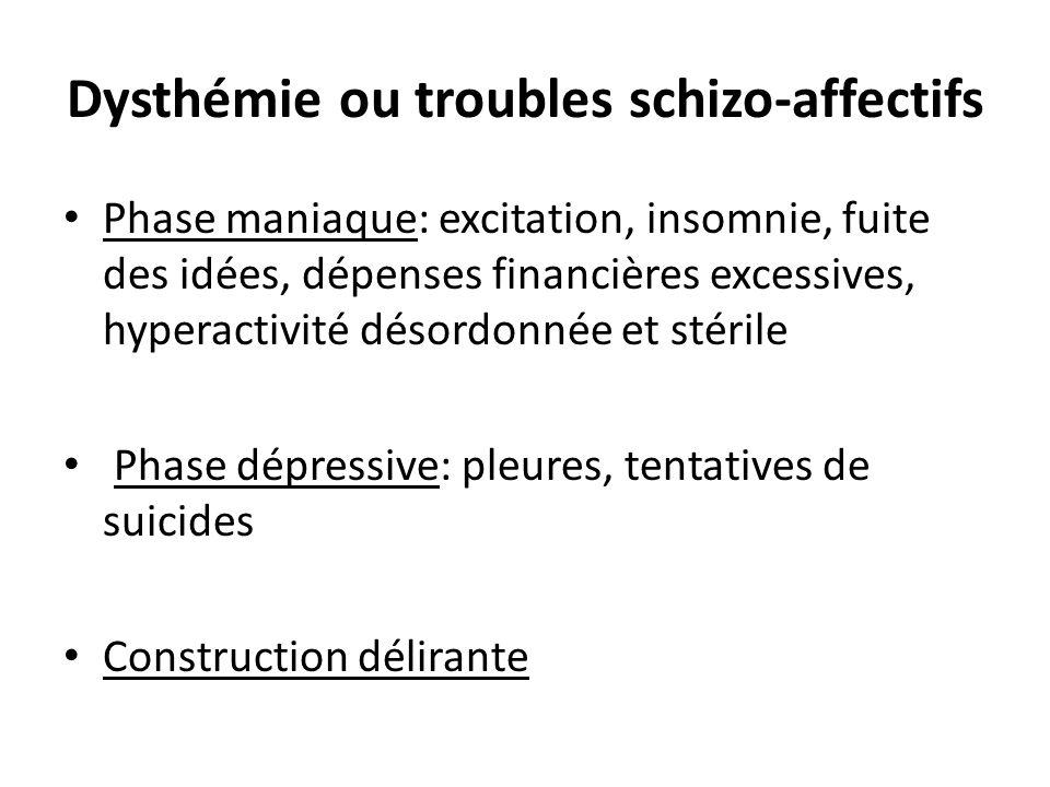 Dysthémie ou troubles schizo-affectifs Phase maniaque: excitation, insomnie, fuite des idées, dépenses financières excessives, hyperactivité désordonn