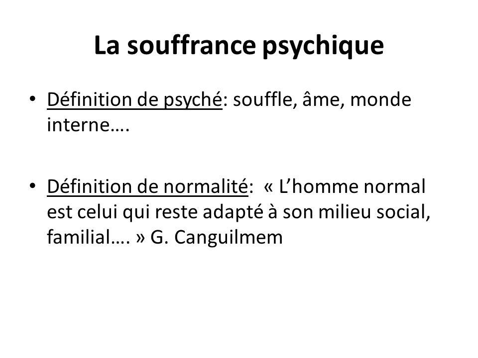 La souffrance psychique Définition de psyché: souffle, âme, monde interne…. Définition de normalité: « Lhomme normal est celui qui reste adapté à son