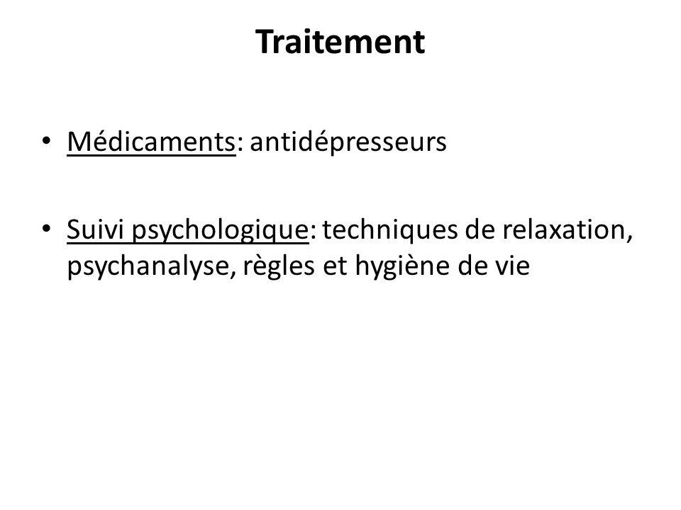 Traitement Médicaments: antidépresseurs Suivi psychologique: techniques de relaxation, psychanalyse, règles et hygiène de vie