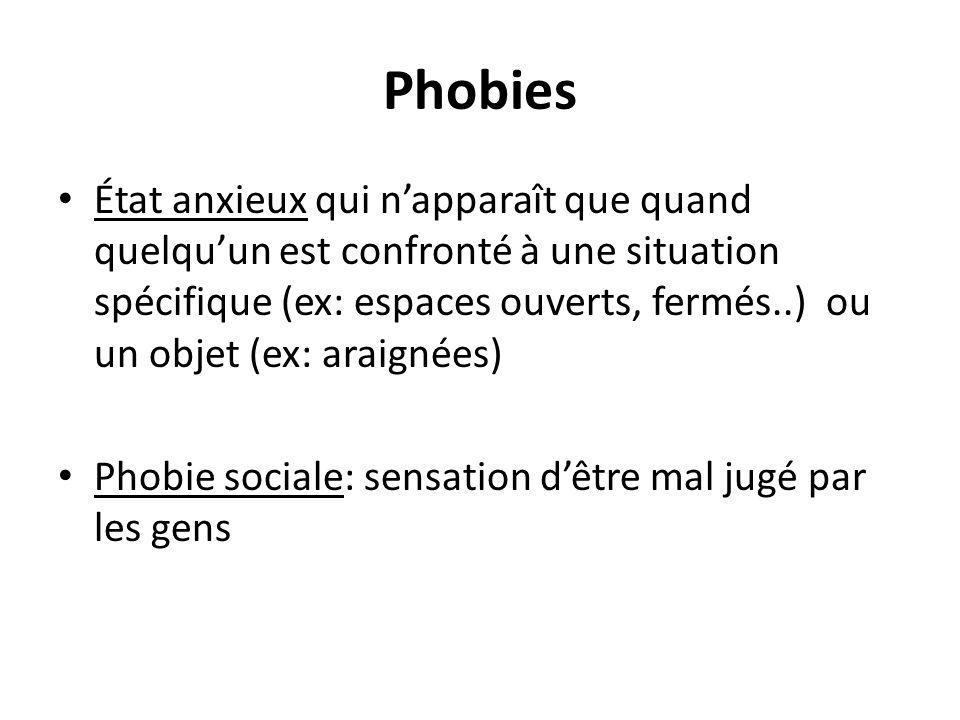 Phobies État anxieux qui napparaît que quand quelquun est confronté à une situation spécifique (ex: espaces ouverts, fermés..) ou un objet (ex: araign