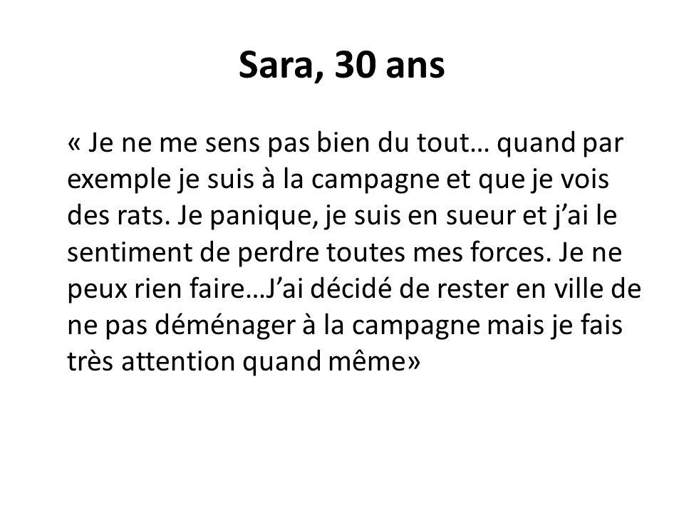 Sara, 30 ans « Je ne me sens pas bien du tout… quand par exemple je suis à la campagne et que je vois des rats. Je panique, je suis en sueur et jai le