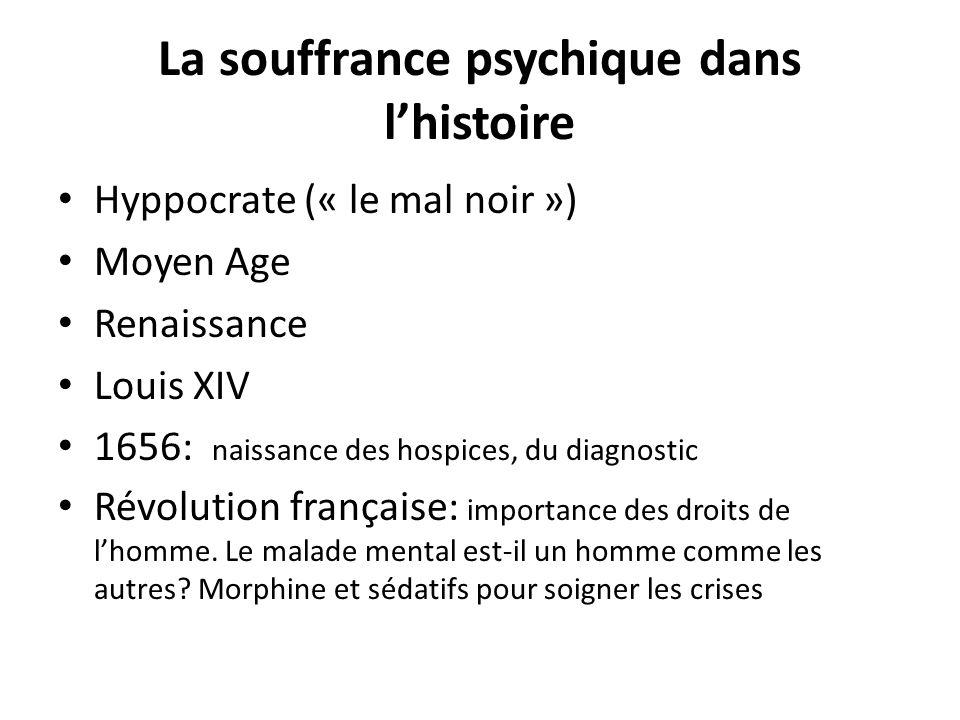 La souffrance psychique dans lhistoire Hyppocrate (« le mal noir ») Moyen Age Renaissance Louis XIV 1656: naissance des hospices, du diagnostic Révolu