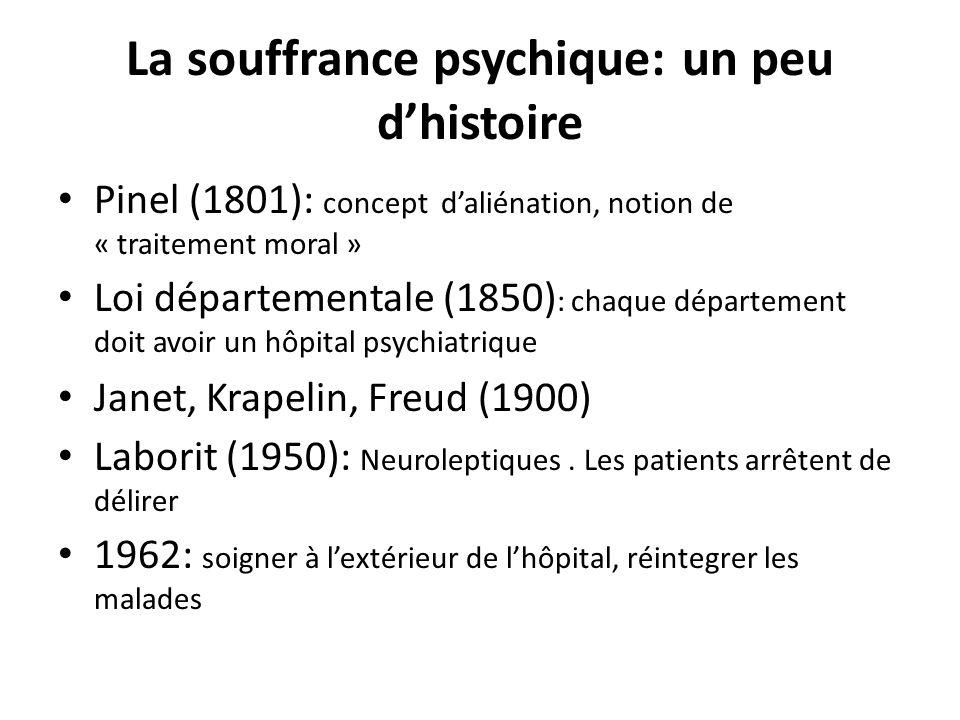 La souffrance psychique: un peu dhistoire Pinel (1801): concept daliénation, notion de « traitement moral » Loi départementale (1850) : chaque départe