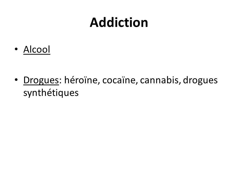 Addiction Alcool Drogues: héroïne, cocaïne, cannabis, drogues synthétiques
