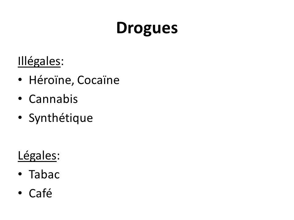 Illégales: Héroïne, Cocaïne Cannabis Synthétique Légales: Tabac Café Drogues