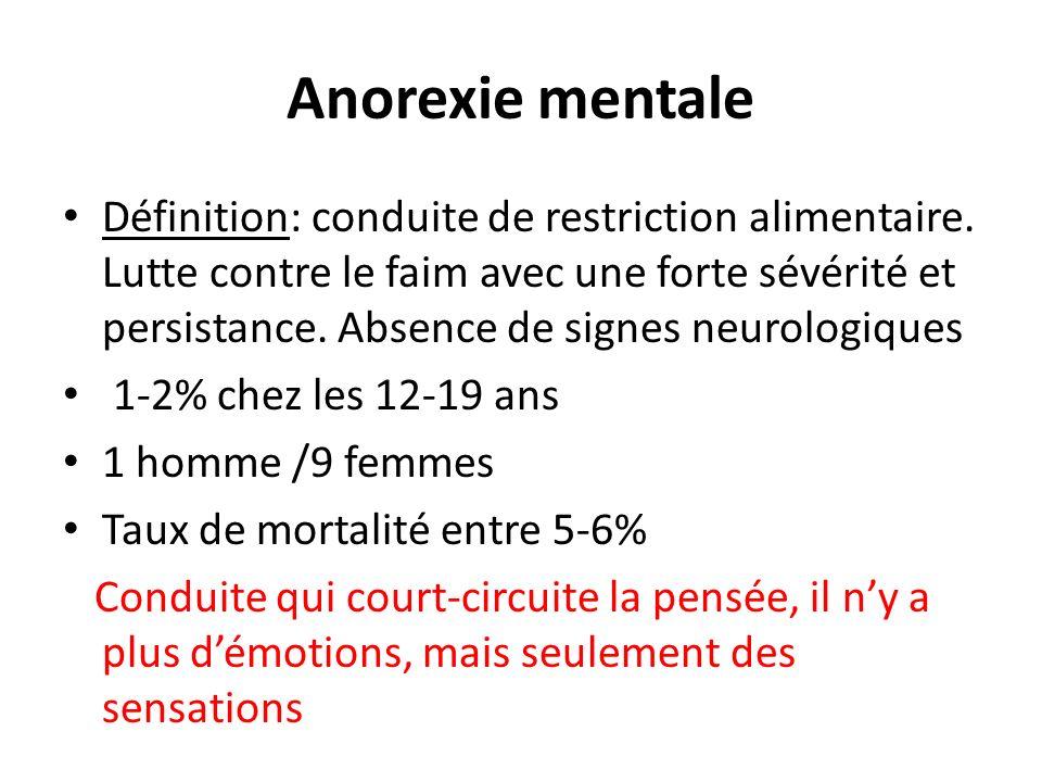 Anorexie mentale Définition: conduite de restriction alimentaire. Lutte contre le faim avec une forte sévérité et persistance. Absence de signes neuro