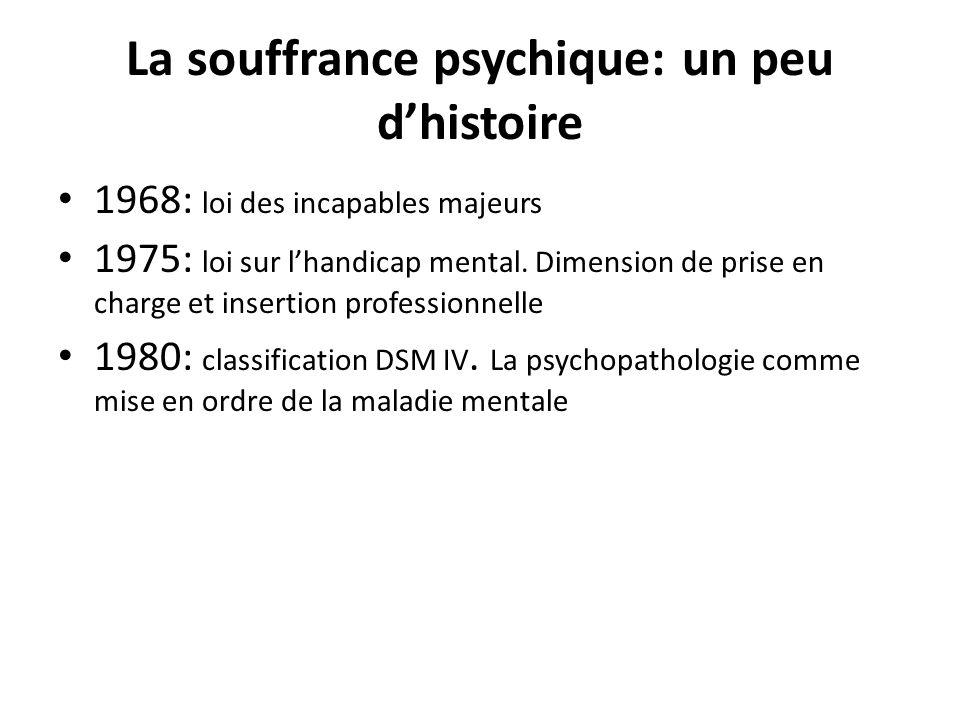 La souffrance psychique: un peu dhistoire 1968: loi des incapables majeurs 1975: loi sur lhandicap mental. Dimension de prise en charge et insertion p