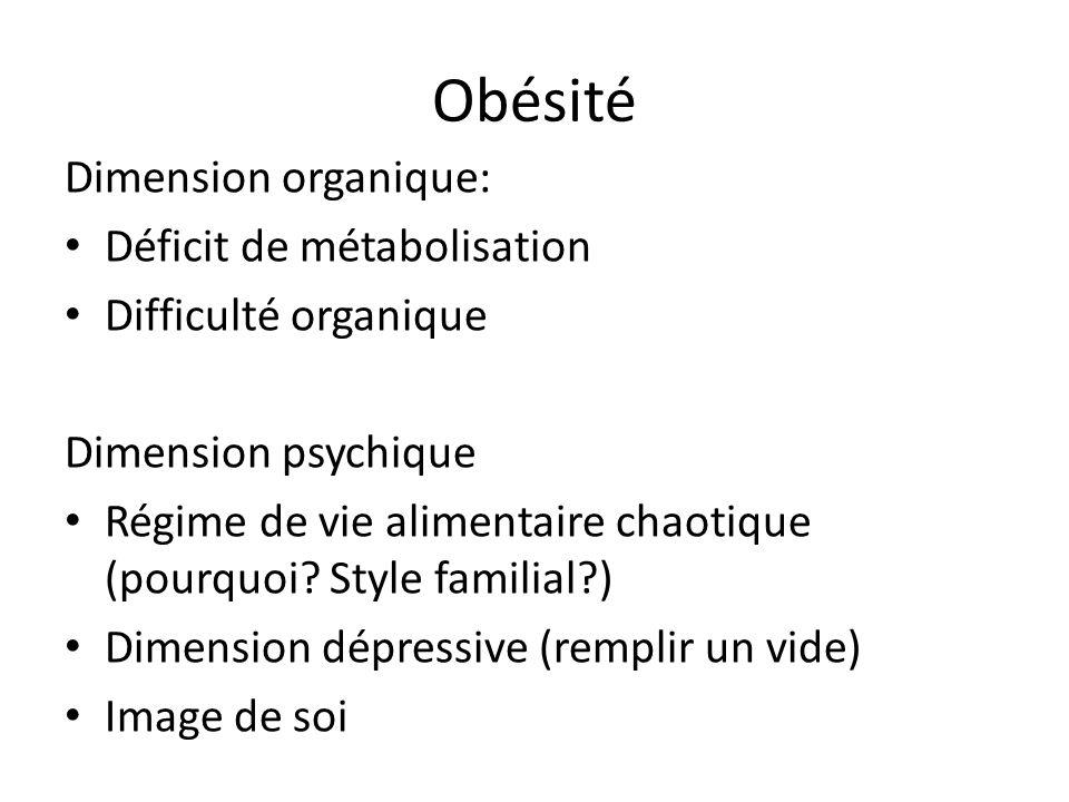 Obésité Dimension organique: Déficit de métabolisation Difficulté organique Dimension psychique Régime de vie alimentaire chaotique (pourquoi? Style f