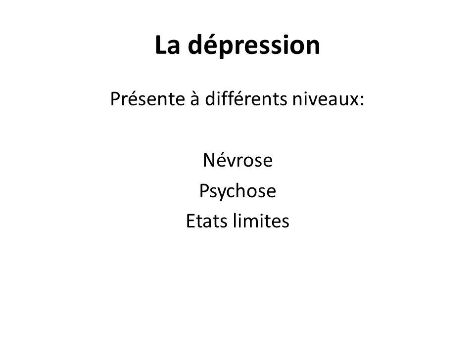 La dépression Présente à différents niveaux: Névrose Psychose Etats limites