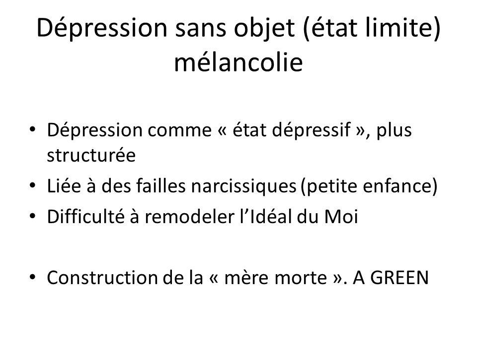 Dépression sans objet (état limite) mélancolie Dépression comme « état dépressif », plus structurée Liée à des failles narcissiques (petite enfance) D