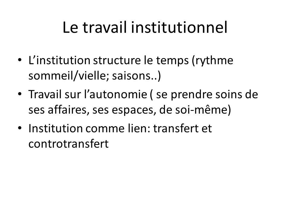 Le travail institutionnel Linstitution structure le temps (rythme sommeil/vielle; saisons..) Travail sur lautonomie ( se prendre soins de ses affaires