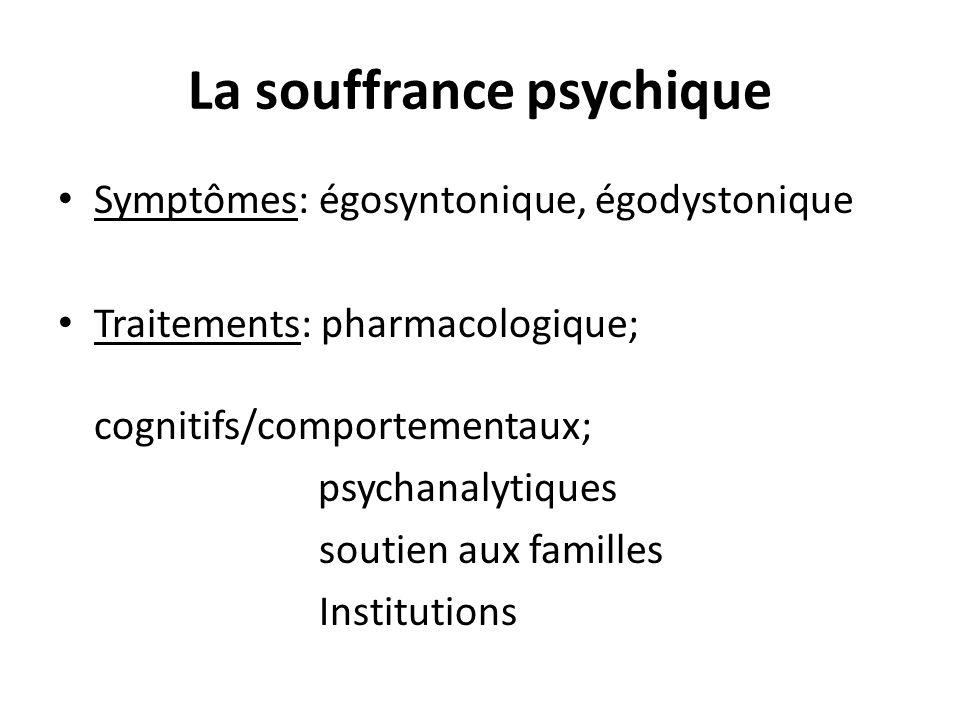 La souffrance psychique Symptômes: égosyntonique, égodystonique Traitements: pharmacologique; cognitifs/comportementaux; psychanalytiques soutien aux