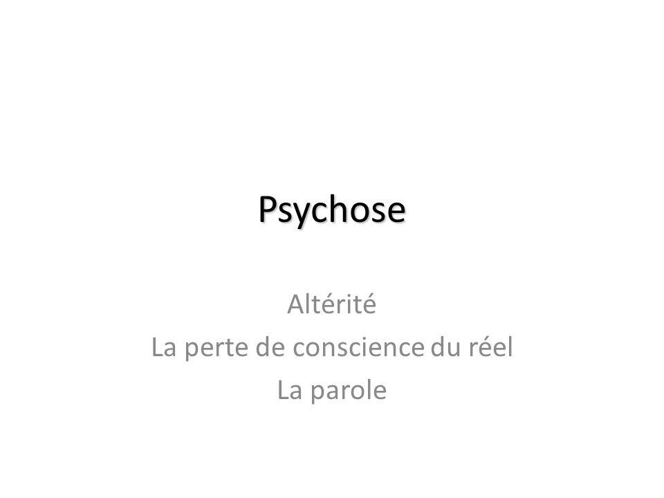 Psychose Altérité La perte de conscience du réel La parole