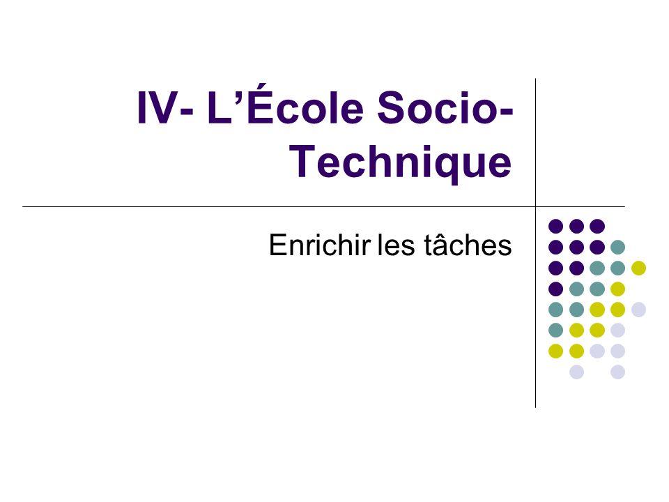 IV- LÉcole Socio- Technique Enrichir les tâches