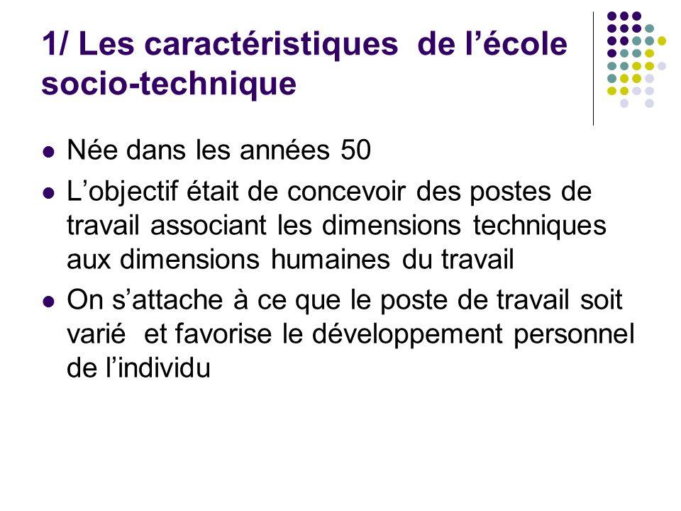 1/ Les caractéristiques de lécole socio-technique Née dans les années 50 Lobjectif était de concevoir des postes de travail associant les dimensions t