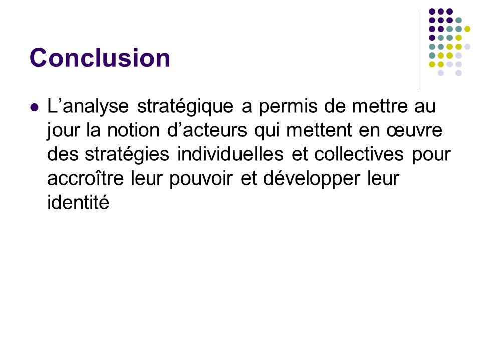 Conclusion Lanalyse stratégique a permis de mettre au jour la notion dacteurs qui mettent en œuvre des stratégies individuelles et collectives pour ac