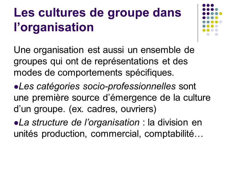 Les cultures de groupe dans lorganisation Une organisation est aussi un ensemble de groupes qui ont de représentations et des modes de comportements s