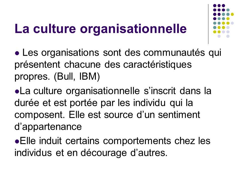 La culture organisationnelle Les organisations sont des communautés qui présentent chacune des caractéristiques propres. (Bull, IBM) La culture organi
