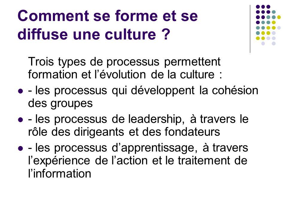 Comment se forme et se diffuse une culture ? Trois types de processus permettent formation et lévolution de la culture : - les processus qui développe