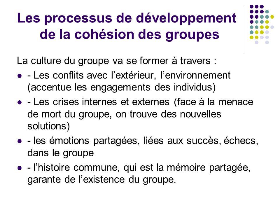 Les processus de développement de la cohésion des groupes La culture du groupe va se former à travers : - Les conflits avec lextérieur, lenvironnement