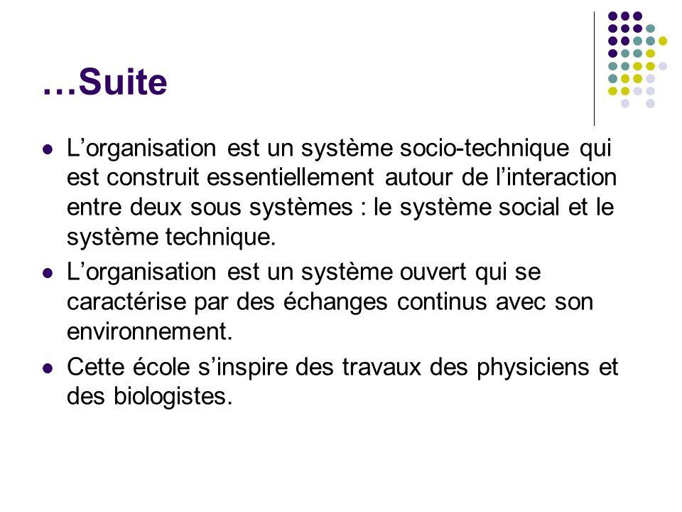 …Suite Lorganisation est un système socio-technique qui est construit essentiellement autour de linteraction entre deux sous systèmes : le système soc